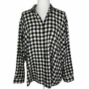 Audrey 3 + 1 Gingham Check Oversized Flannel S/M